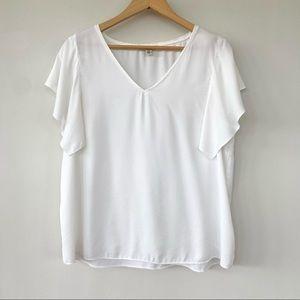 Halston v-neck blouse with flutter sleeves